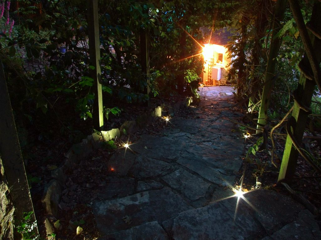 Garden pathway and pergola lighting
