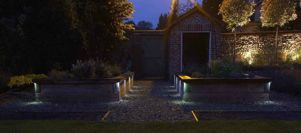 Lit raised beds in Victorian garden