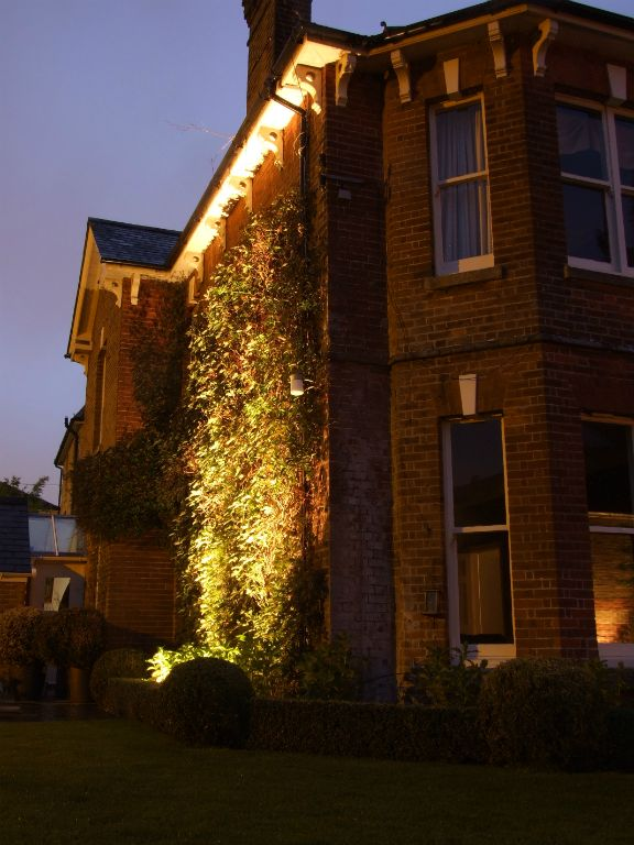 Victorian house exterior wall lighting with Ivy